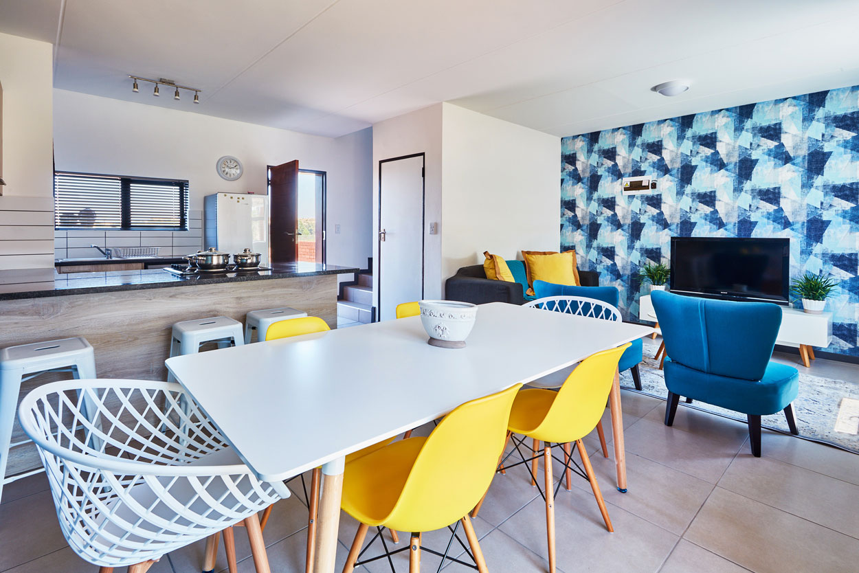 Dining and kitchen open plan view